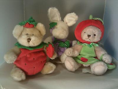 Dressed Teddy Bear - Dressed Up Teddy Bear 1 In Apple Costume, 1 Strawberry & 1 Buuy In Grape Dress