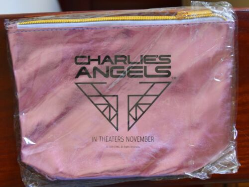 NEW never used CHARLIES ANGELS Pink Sparkle Cosmetics Bag 2019 Movie Film Promo