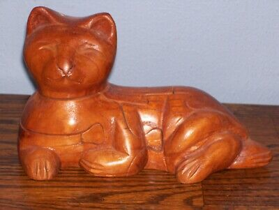 Vintage 7 in. Carved Wood Cat Puzzle.. Look!