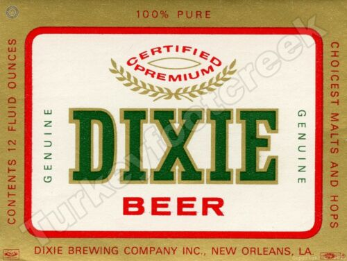 "DIXIE BEER LABEL NEW ORLEANS 9"" x 12"" SIGN"
