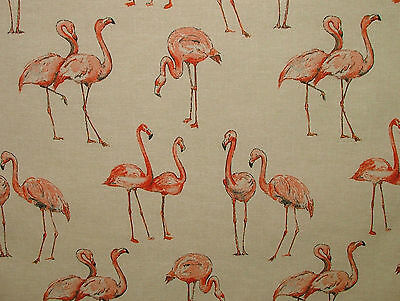 4 Metres Flamingo Natural Linen Look Curtain Upholstery Quiting Patchwork Fabric