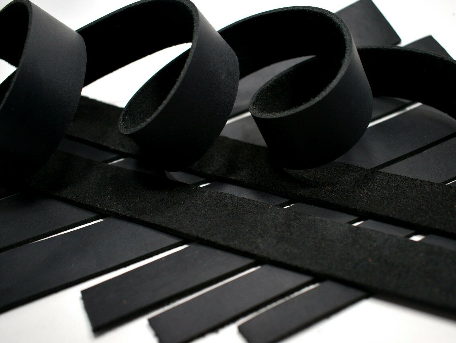 SECONDS: Black Oil-Tanned Leather  Strip Strap LeatherRush