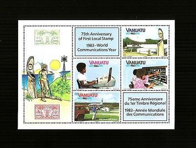 Vanuatu, Sc # 363a, MNH, 1983, S/S, World Communications Day, Telex, 231*F
