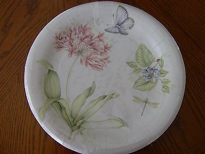 Lenox BUTTERFLY MEADOW PINK Coated Paper Dinner Plates Set of 16 New