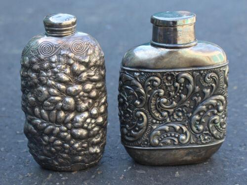 2 Engraved Silverplate Hip Flask & Shot Lid Floral Silver-Plated Antique Vintage