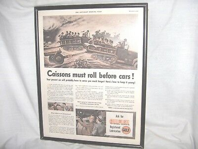 ES101 - ANTIQUE DEC 6, 1941 GULF OIL MAGAZINE AD - GULFLEX - MILITARY CAISSONS