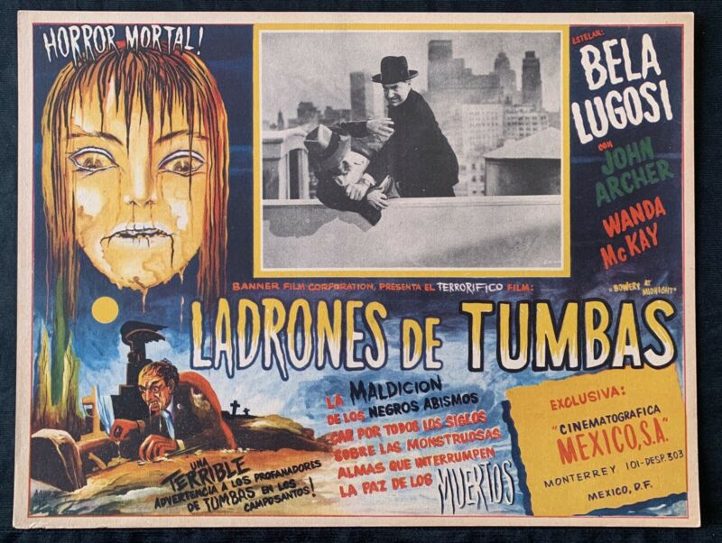 Bowery At Midnight BELA LUGOSI MEXICAN LOBBY CARD Great Horror Art