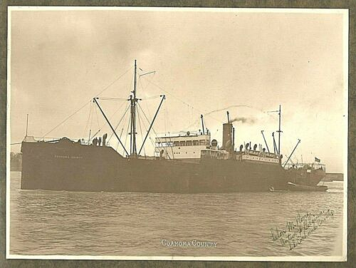 c1920 PHOTO COAHOMA COUNTY STEAM SHIP CARGO FREIGHTER, DATE NOTATIONS ON BACK