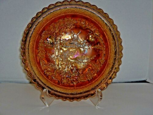 "Imperial Carnival Glass Marigold ""Double Dutch Windmill""  3 Footed Bowl"