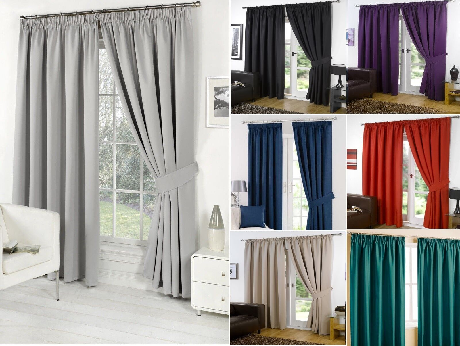 curtains - Thermal Pencil Pleat Blackout Tape Top Pair of Curtains Ready Made Free Tiebacks