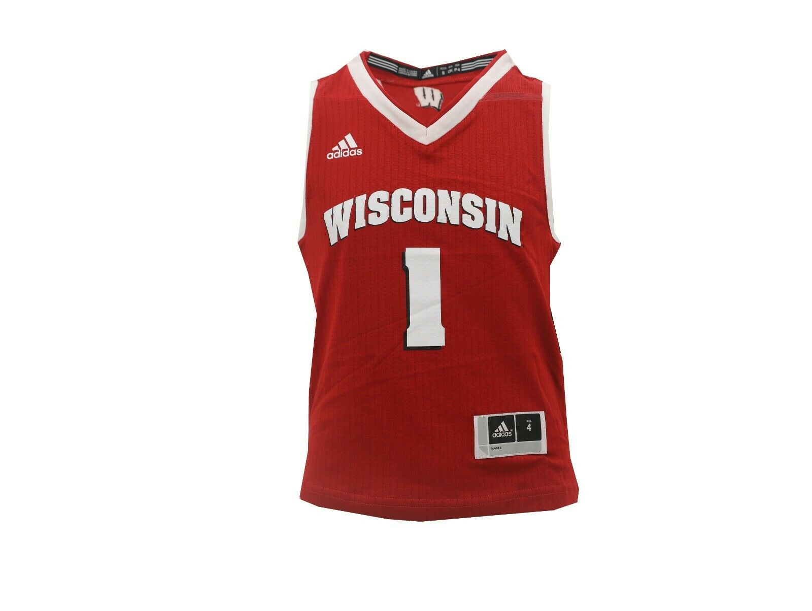0dd73348bd2 Wisconsin Badgers Official NCAA Adidas Youth Kids Size Basketball Jersey New