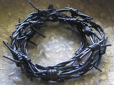 Schwarz Leder Halskette Kette Herren Lederkette Herrenkette Damen Stacheldraht