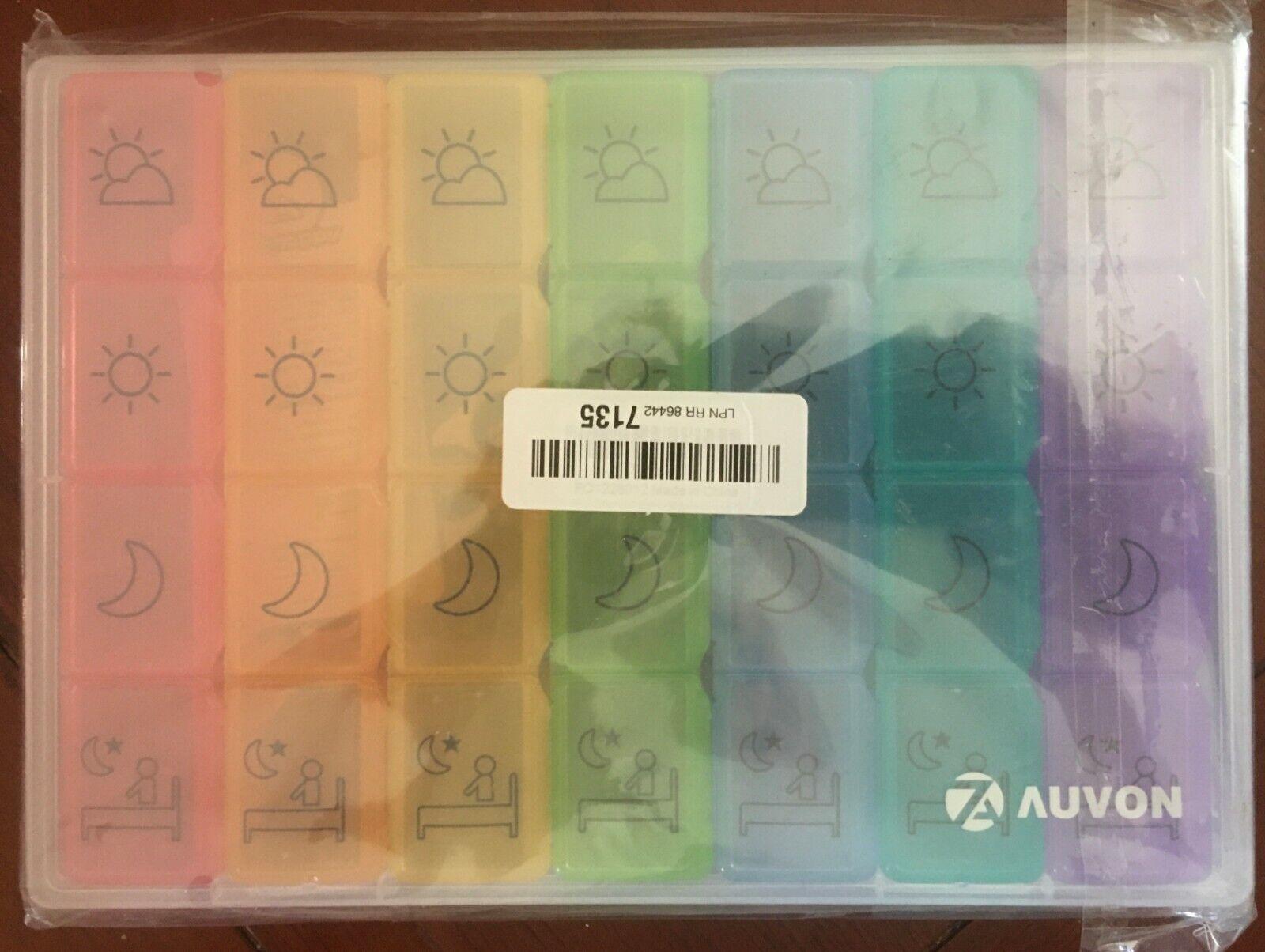 AUVON iMedassist Weekly AM/PM Pill Box, Portable Travel Pill