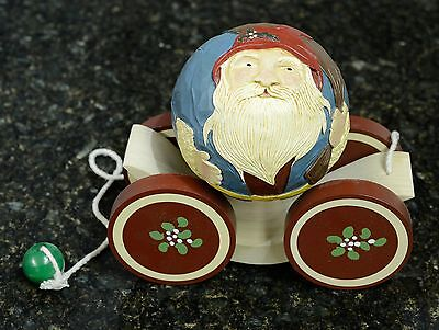 BRIERE Folk Art Pull Toy 1989 Old Fashioned Santa Claus Ball & Cart New in Box
