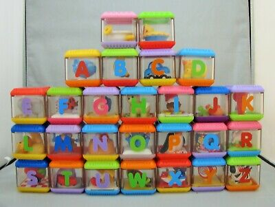 """Fisher Price Lot of 27 PEEK A BOO BLOCKS Set A-Z Alphabet Letters Animals No """"V"""""""
