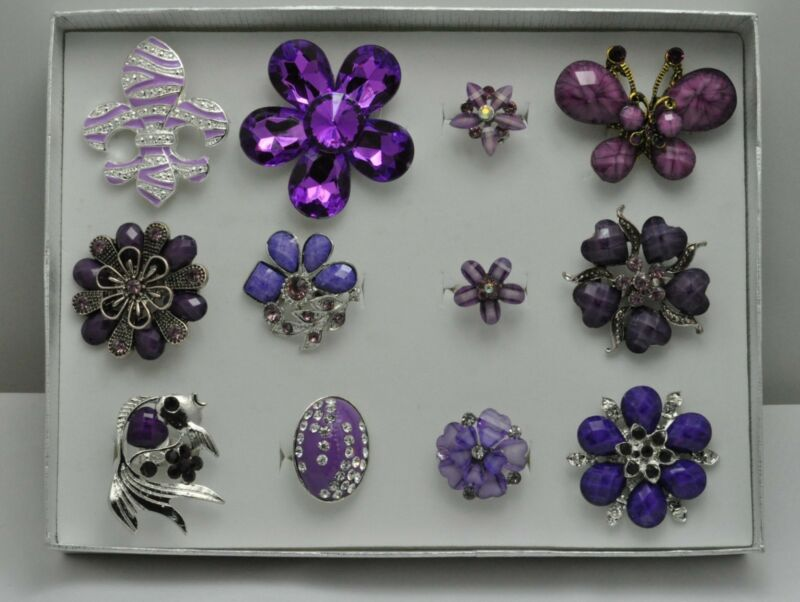 A-57  WHOLESALE LOT 12 PCS PURPLE COLLECTION CHIC COCKTAIL COSTUME JEWELRY RINGS