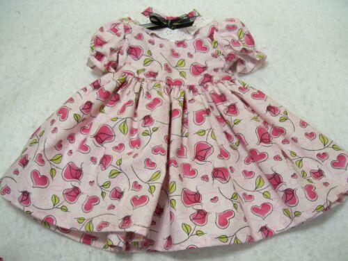 "HEARTS & ROSES  DRESS & HEADBAND--- MADE TO FIT 18""  DOLLS"