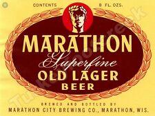 "MARATHON SUPERFINE OLD LAGER BEER LABEL 9/"" x 12/"" SIGN"