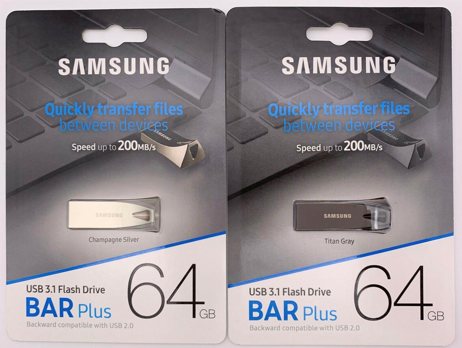 Samsung BAR Plus 64GB 200MB/s USB 3.1 Flash Drive Silver/Gra