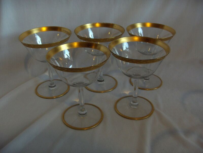5 VntgTiffin Franciscan Crystal LiquorCocktail Goblets Gold Band Leaves Berries