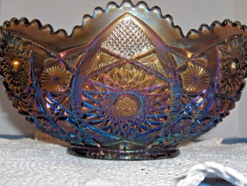 "Vintage Imperial ""Hobstars & Arches"" Large Bowl Smoke Peacock C. 1950"