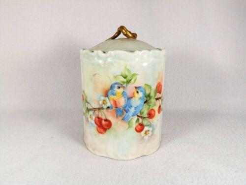 Antique Porcelain Biscuit Jar & Lid Hand Painted BLUE BIRDS & Cherries Signed