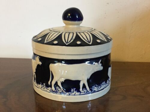 Antique German Aesthetic Art Pottery Jar & Cover Butter Tub Cows Arts & Crafts