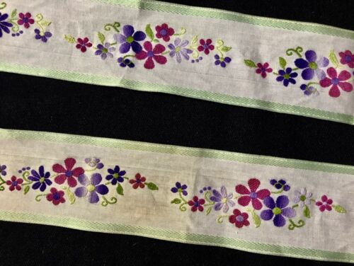 """74"""" x 2"""" Vintage Floral Embroidery on White Background Cute Ribbon Trim Tape"""