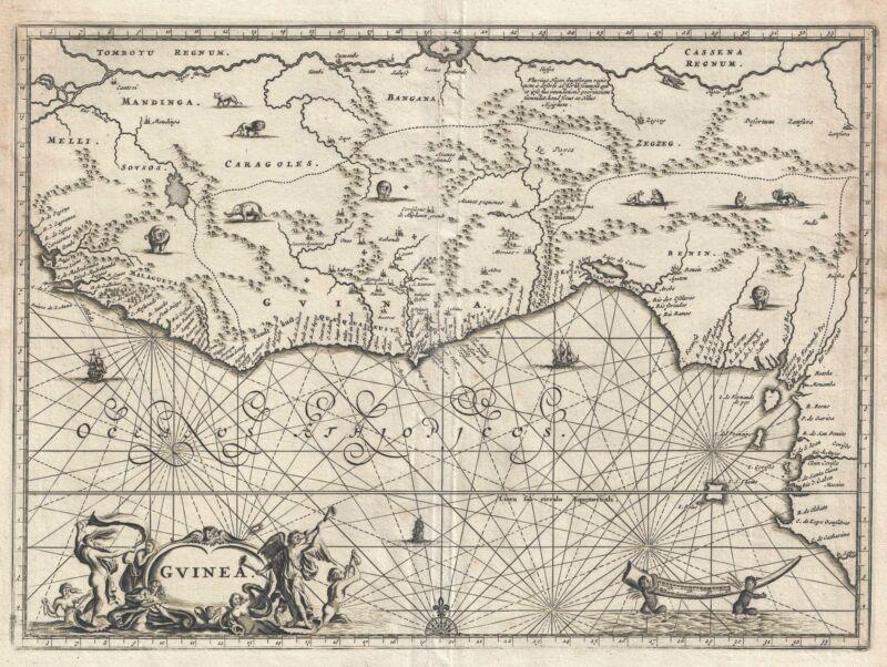 1686 Dapper Map of the Guinea Coast of West Africa