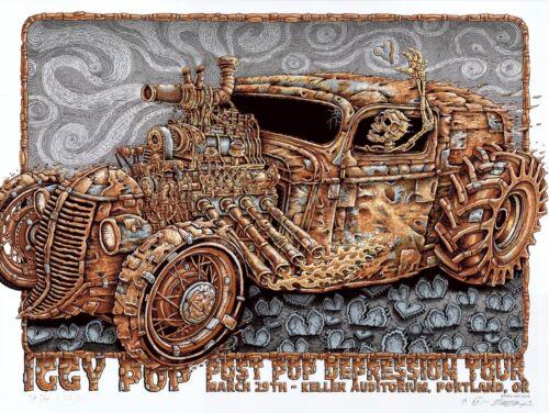 MINT & SIGNED EMEK Iggy Pop Portland RUST ROD AP Poster 17/20