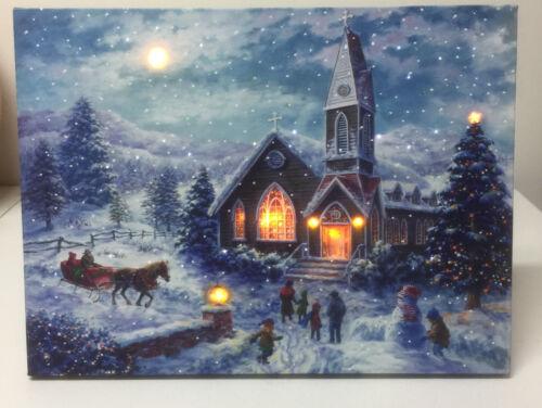"New Mr. Christmas Illuminart Canvas Santa 16"" x 12"" Musical Winter Welcome"