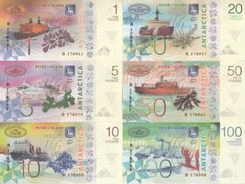 Peter I Island Set 6 banknotes 2017 year UNC Private issue (21892)