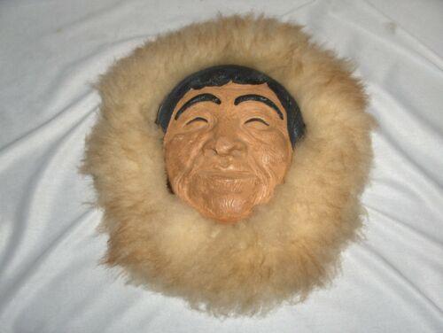 Vintage Ceramic Eskimo Face Mask Fur & Leather Native American Arts Signed JD