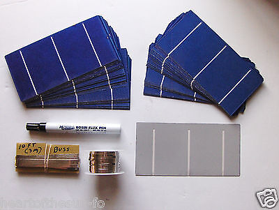 2-72 Watt Solar Cell panel kit, 80-4 amp solar cells,tabbing+buss wire,Rosin Pen for sale  Shipping to Canada
