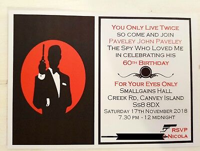 JAMES BOND THEMED PARTY INVITATIONS, BLACK AND RED, A6 SIZE, PACK OF 10