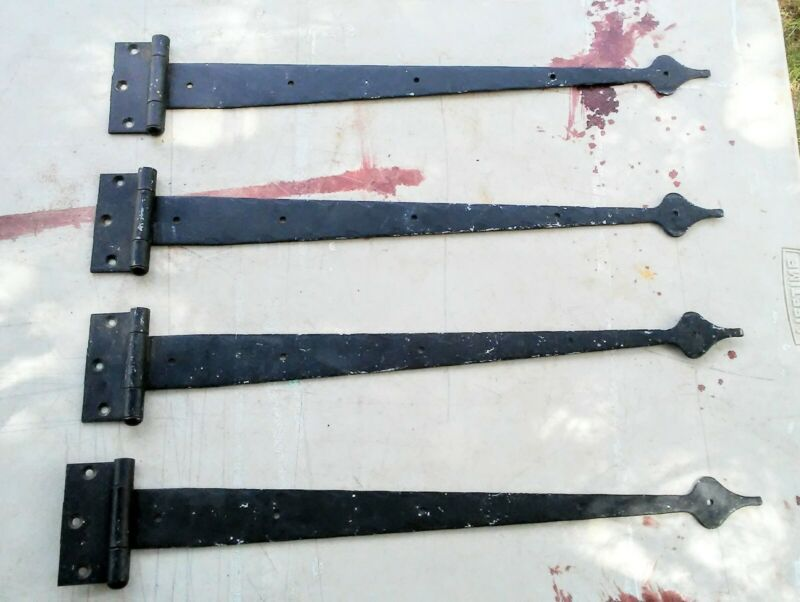 "4 - Long Vintage 18"" Forged Iron Spade Tip Strap Hinges"