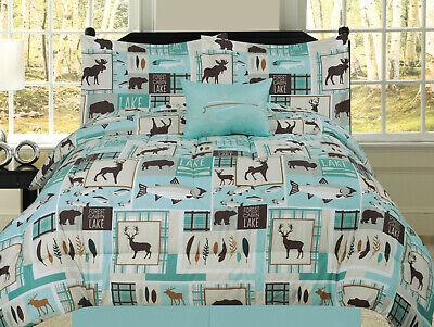 Fishing Lakehouse Cabin Lodge Comforter Bedding Set Bear Fish Deer Rustic, Blue