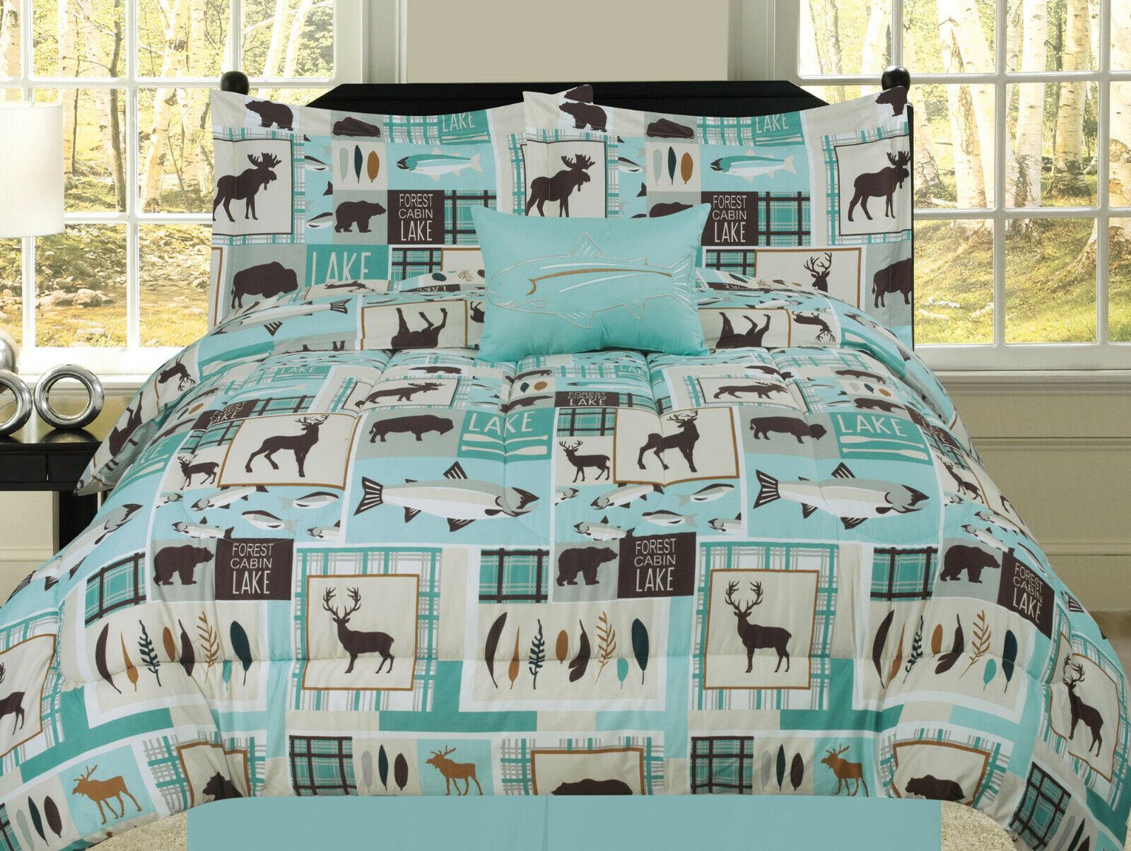 Fishing Lakehouse Cabin Lodge Comforter Bedding Set Bear Fish Deer Rustic, Blue Bedding