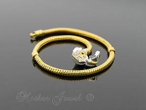 22cm-Yellow-Gold-Silver-Plated-Snap-Clasp-European-Bead-Unisex-Charm-Bracelet