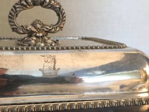Antique 19th c. Regency Old Sheffield Silver Plate Entree Dish Cow Crown Crest