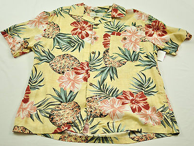 men's Island Shores short sleeve shirt size XL collar button front yellow flora image