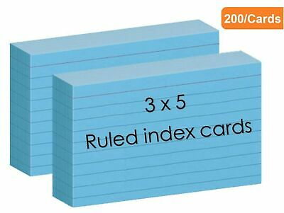 1intheoffice Blue Colored Index Cards Ruled Index Cards 3x5 Blue 200cards