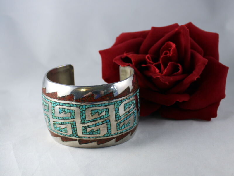 Sterling Silver Turquoise & Coral South West 110g Cuff  Bracelet  CAT RESCUE