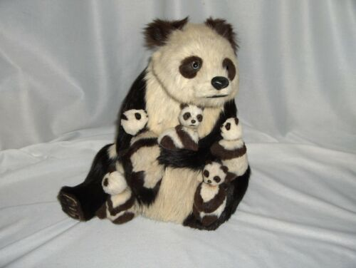 "Vintage Real Fur Mother Panda Bear & 5 Cubs 9"" Figurine 2 Cubs Bobble Heads RARE"