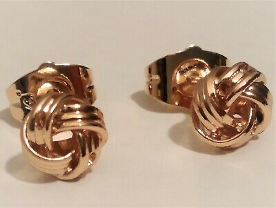 Pendientes nudo para mujer con oro rosa 18 kgf gold filled