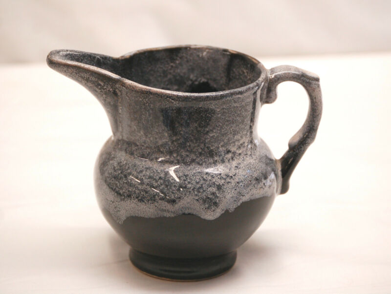 Brush McCoy Stoneware Pottery Black Creamer Gravy Gray Drip Glaze Kitchen Tool