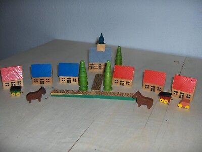 "VTG Wooden Hand Made Village Church, 1 3/8"" Houses 18 piece, Some Flaws"