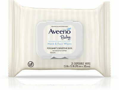 AVEENO Hand - Face Baby Wipes with Oat Extract 25 ea (Pack of 5)