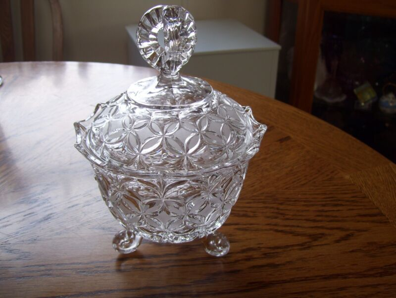 Bleikristall Candy Cut Crystal Etched Footed Candy Dish Vintage