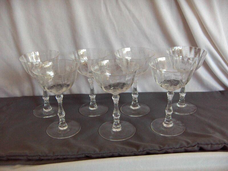 7 Vintage Clear Lenox Navarre Tall Champagne Sherbet Goblets Fine Crystal NICE